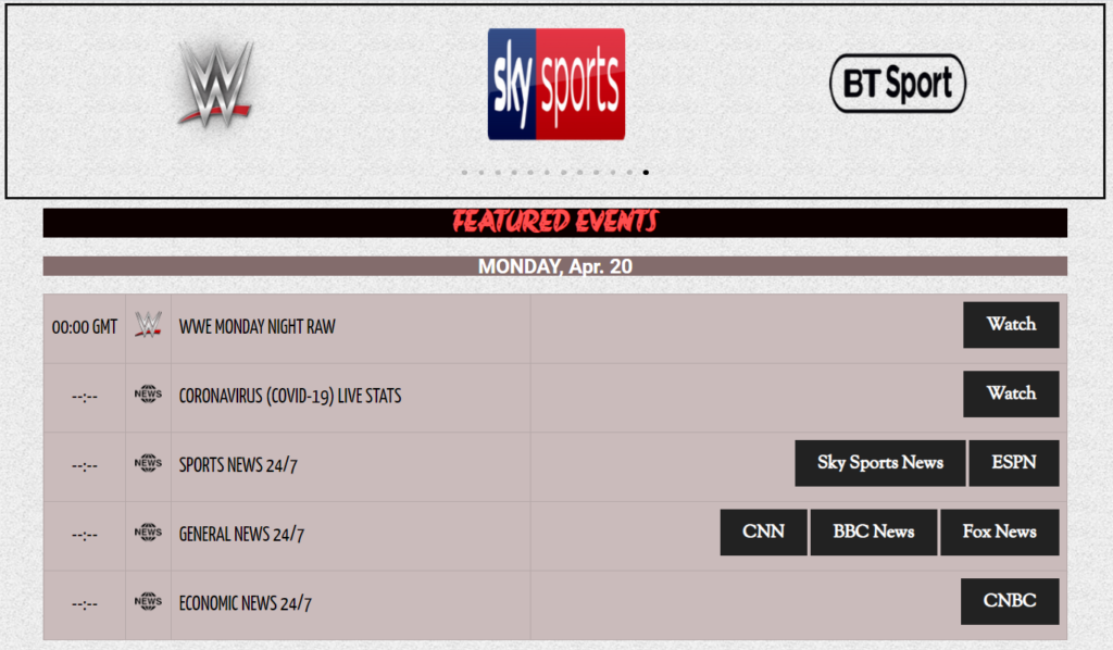 time4tv offers multiple tiled live streaming sites for sky sports
